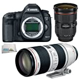 Canon EOS 5D Mark III 22.3 MP Full Frame CMOS with 1080p Full-HD Video Mode Digital SLR Camera (Body) + Canon EF 24-70mm f/2.8L II USM Standard Zoom Lens + Canon EF 70-200mm f/2.8L IS II USM Telephoto Zoom Lens + SSE Micorfiber Cleaning Cloth