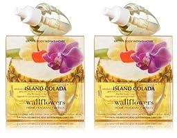 Lot of 2 Bath & Body Works Island Colada Wallflower 2 Bulb Refill Pack (4 Bulbs Total) (2 pack refill bulb Island Colada)