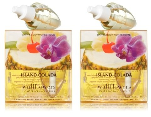 Lot of 2 Bath & Body Works Island Colada Wallflower 2 Bulb Refill Pack (4 Bulbs Total) the wallflower 22 23 24