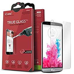 iCarez [0.2MM Tempered Glass] Screen Protector for LG G3 Easy Install with Lifetime Replacement Warranty [1-Pack] - Retail Packaging