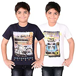 AEDI Little Casual T Shirts (Pack of 2) for Boys (7-8 Yrs)
