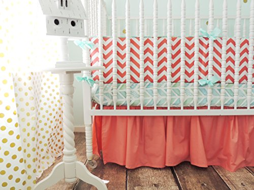 Tushies and Tantrums Boutique Crib Set, Aqua and Coral