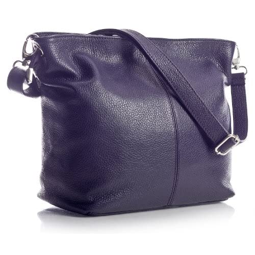 Big Handbag Shop Womens Genuine Italian Leather Medium Hobo Shoulder Bag