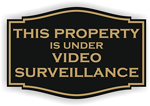 This Property is under video surveillance Sign (3 x 4.5, black with Gold)