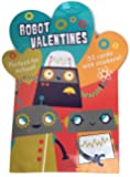 Robot Valentines - 32 Class Valentine Cards with Stickers