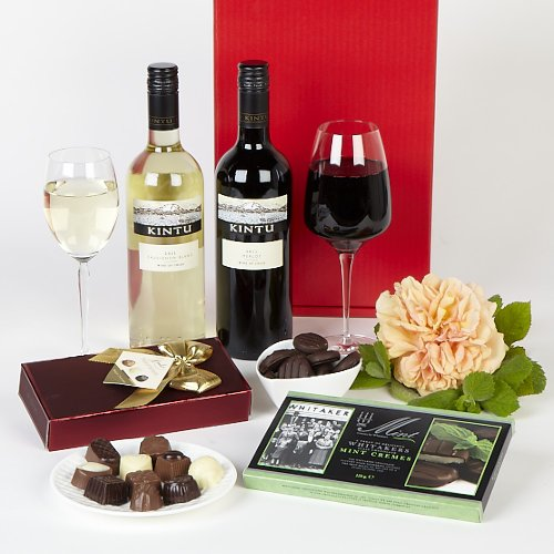 Belgian Chocolates, Chilean wines and mints in gift box - Red and white wine with Belgian Chocolates and mints hamper