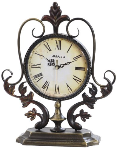 Maple's Plant Ornate Metal Decor Table Clock