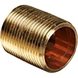 Anderson Metals Red Brass Pipe Fitting, Close Nipple, NPT Male
