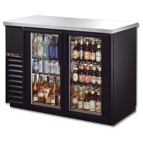 Back Bar Cooler, 2 Glass Door, Holds 61 6-Packs or 2 Kegs, Black