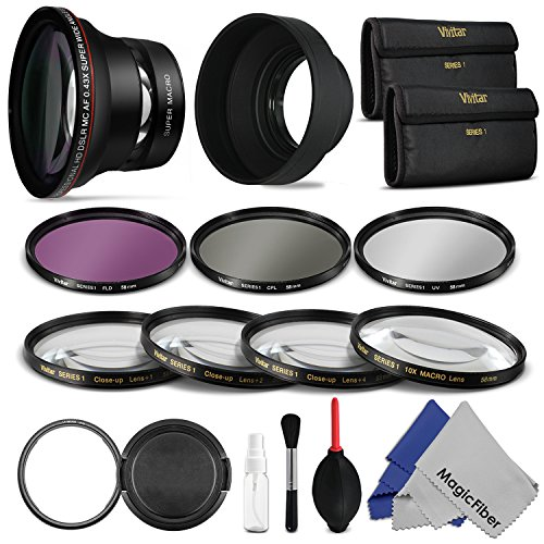 Accessory Kit for CANON PowerShot SX50 HS - Includes: Lens Conversion Adapter + Professional 0.43x Wide Angle Lens + Filter Kit (UV CPL FLD) + Macro Close Up Set + Tulip Hard and Rubber Lens Hood + Snap-On Lens Cap + Deluxe Cleaning Kit + MagicFiber Microfiber Cleaning Cloth