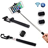 SAMAR® Extendable Integrated Selfie Handheld Stick {Latest 2015 Version} Pole Monopod with Built-in Wireless Bluetooth Remote Camera Shooting Shutter and Adjustable Phone Holder compatible for iPhone, Samsung and other IOS and Android Smartphones (Black)