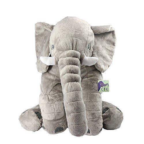 CTE® Soft Gefüllt Elefant Niedlich Komfortablen Plüsch Tier Kuscheltier am Besten für Baby Kissen (Grau)