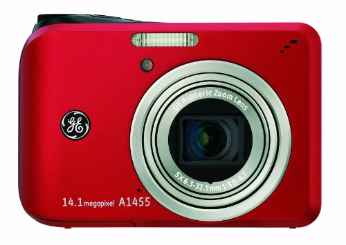 GE A1455 14MP Digital Camera with 5X Optical Zoom and 2.7-Inch LCD with Auto Brightness (Red)