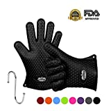Molecule Gloves High Quality Silicone Gloves-Heat Resistant Grilling BBQ-New Protective Oven- Grill, Baking, Smoking and Cooking Gloves - Necessity for Every BBQ Fan - Five Finger Slots Cool Practical Cooking Tools & Accessories by Molecule Gloves