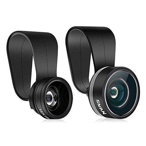 SNAN Objectif Smartphone 3 en 1 Kit Universel Clip - on Objectif Fish-eye à 180°+ 0.67X Objectif Grand Angle + 10X Objectif Macro Lentille
