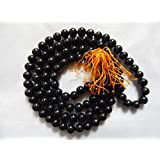 Urancia Natural Black Agate Or Kala Hakik Mala 8mm For Pooja Healing Japa