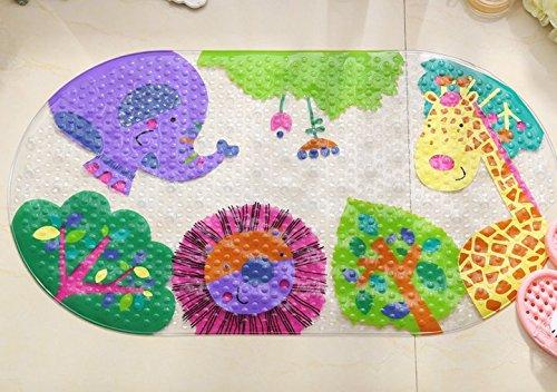 Kids Cartoon Animal World Nonslip Bathroom Rugs, Antibacterial Waterproof PVC Bath Mats,Oval,27x15 inches(69x39cm)