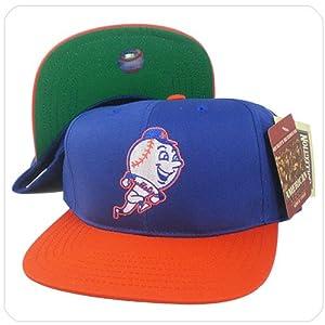 vintange retro MLB new york mets blue orange 2tone coopestown snapback hat cap