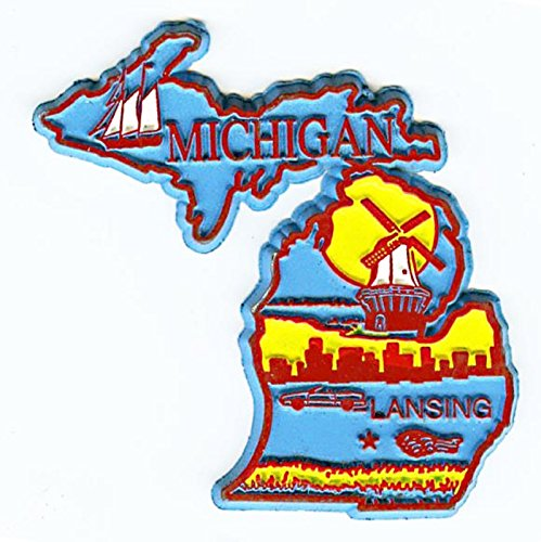 Michigan Lansing-4 Color United States Fridge Magnet (Michigan Fridge Magnet compare prices)