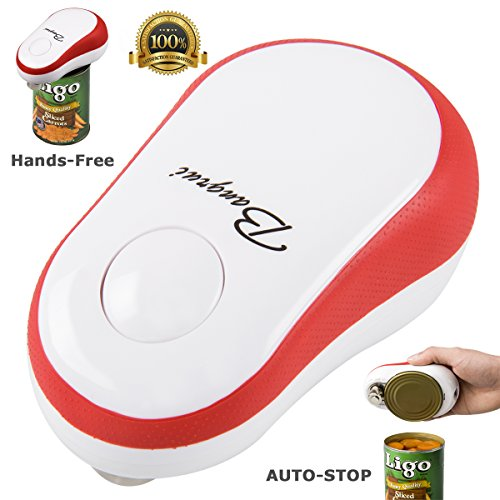 Bangrui Smooth Edge Electric Can Opener--One Button Start & Auto-Stop(Red) (One Button Can Opener compare prices)