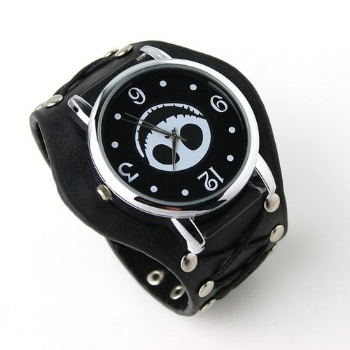GREENWON Fashion Black Punk Gothic Unisex Ladies Women Men Gens' Genuine Leather Wrist Watch A Good Gift for Your lover