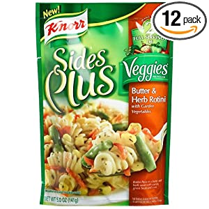 Knorr Sides Plus Veggies, Butter & Herb Rotini with Garden Vegetables, 5.0-Ounce Pouches (Pack of 12)