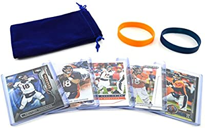 Peyton Manning Football Cards & Wristbands Gift Pack Denver Broncos (5) Assorted NFL Football Trading Cards