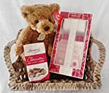 Ladies / Womens Gift Hamper Basket - Grace Cole Relaxation Ritual Wild Fig & Grape Gift Set With Aurora 12-inch Jointed Bartholomew Bear & Thorntons Classic Collection Chocolates - Cellophane & Ribbon Gift Presented