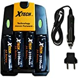 Xtech 4 AA NiMH High Capacity Rechargeable Batteries 3100mAh plus High Speed AC/DC Charger Kit for Fuji FinePix S9400W S9200 S8600 S8500 S8400W S8300 S8200 S6900 AX660 AX650 AXS2950 S2950 S6800 S6700 S4800 S4700 S4600 S4500 S4400 S4300 Digital Cameras.