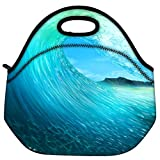 Snoogg Waves Sea Travel Outdoor Carry Lunch Bag Picnic Tote Box Container Zip Out Removable Carry Lunchbox Handle Tote Lunch Bag Food Bag For School Work Office