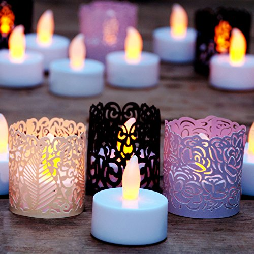 LED Flameless Tea Lights - 24 Battery Powered Candles Includes Bonus Decorative Votive Wrap Holders With 3 Colors & Styles. Ideal for Weddings, Gifts, Holidays, Crafts, Christmas - Safe for Your Home