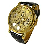 Taobaopit Unisex Elegant Gold-plated Transparent Dial Black Pu Strap Hand-winding Mechanical Wirst Watch with Hand-winding Mechanical Movement