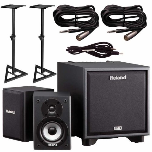 Roland Cm-110 Monitor System For Electronic Drums With Stands, And Cables Bundle