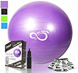 Exercise Ball -Professional Grade Anti Burst Tested with Hand Pump- Supports 2200lbs- Includes Workout Guide Access- 55cm/65cm/75cm/85cm Balance Balls (Purple, 55 cm)