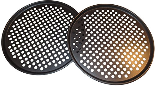 Pack of 2 Pizza Pans with holes 13 inch - Professional set for restaurant type pizza at home grill barbecue (Small Conveyor Oven compare prices)