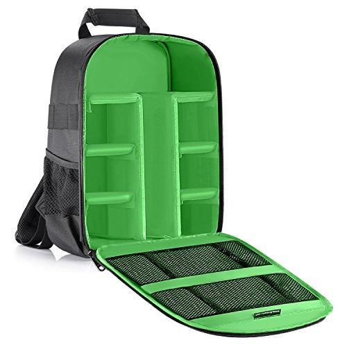 Neewer® Zaino Backpack Imbottito Flessibile con Divisorio Anti-urto Separatore Protettivo per Fotocamere SLR DSLR Mirrorless e Obiettivi, Flash, Radio Trigger e Altri Accessori (Verde all'Interno)