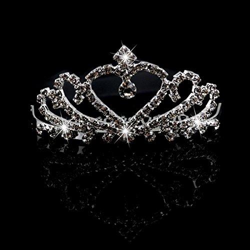 TINKSKY 結婚式ブライダル ウエディング ラインス トーンティアラ王冠ティアラ (シルバー)