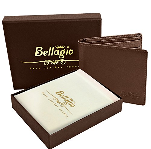Premium Leather Wallet for Men in Gift Box - Bifold Design with RFID Protection - Perfect Gift for Him - Black or Brown