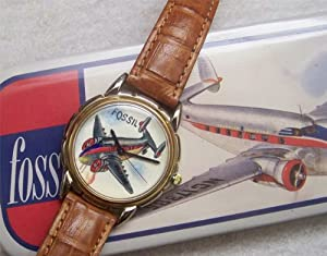 Fossil Airplane Watch Hand Painted Twin Tail Twin Boom Vintage Collectible LE-9400