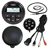 """Milenna PRV17 Marine Gauge Style AM/FM Radio Stereo Receiver With Protective Cover Bundle Combo With Waterproof Bluetooth Adapter + Enrock USB/AUX To RCA Interface Mount Cable + 22"""" Radio Antenna"""