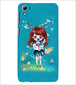PrintDhaba Doll and Butterfly D-1146 Back Case Cover for HTC DESIRE 826 (Multi-Coloured)