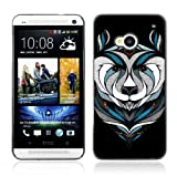 ARTCASES Collections Black Hard Back Case for HTC ONE ( M7 ) ( Cool Bear Tattoo )