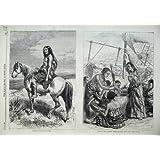 Impresión Antigua del Lince Africano 1869 de la Nave de las Mujeres del Cacique de Kamilo Pantagonian