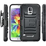Fosmon STURDY Shock Absorbing Dual Layer Hybrid Holster Cover Kickstand Case for Samsung Galaxy S5 - Retail Packaging (Black)