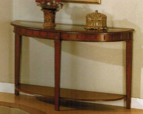 Cheap Console Sofa Table with Storage Shelf – Cherry Brown Finish (VF_F6127)