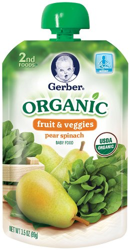 Gerber Organic 2nd Foods Pouches, Pear, Spinach, 3.5 Ounce, 12 count