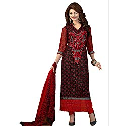Rozdeal Women Georgette Embroidered Unstitched Half Sleeve Maroon Anarkali Suit