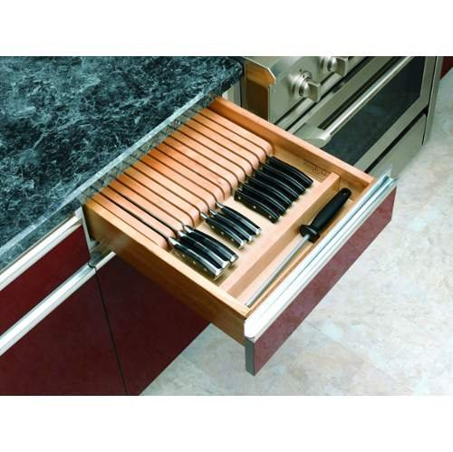 Rev-A-Shelf 4WKB-1 4WKB Series Trimmable Maple Knife Block with Divider, Natural Wood