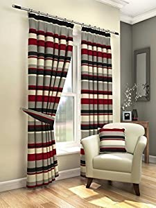 """Modern Fresh Red Cream Striped Curtains Lined Pencil Pleat 46"""" X 72"""" #amas from PCJ SUPPLIES"""