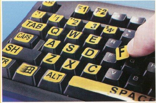 Large Print Keyboard Laptop Labels - Black On Yellow